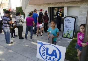 The line to enter LATTC's Aspen hall for healthcare enrollment at this weekend's health fair.