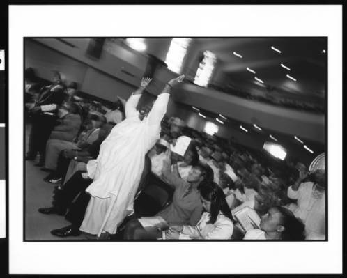 Easter Sunday service at the First AME Church in 1996, just several years after the riots. | Jerry Berndt, Jerry Berndt Collection, USC Digital Libraries