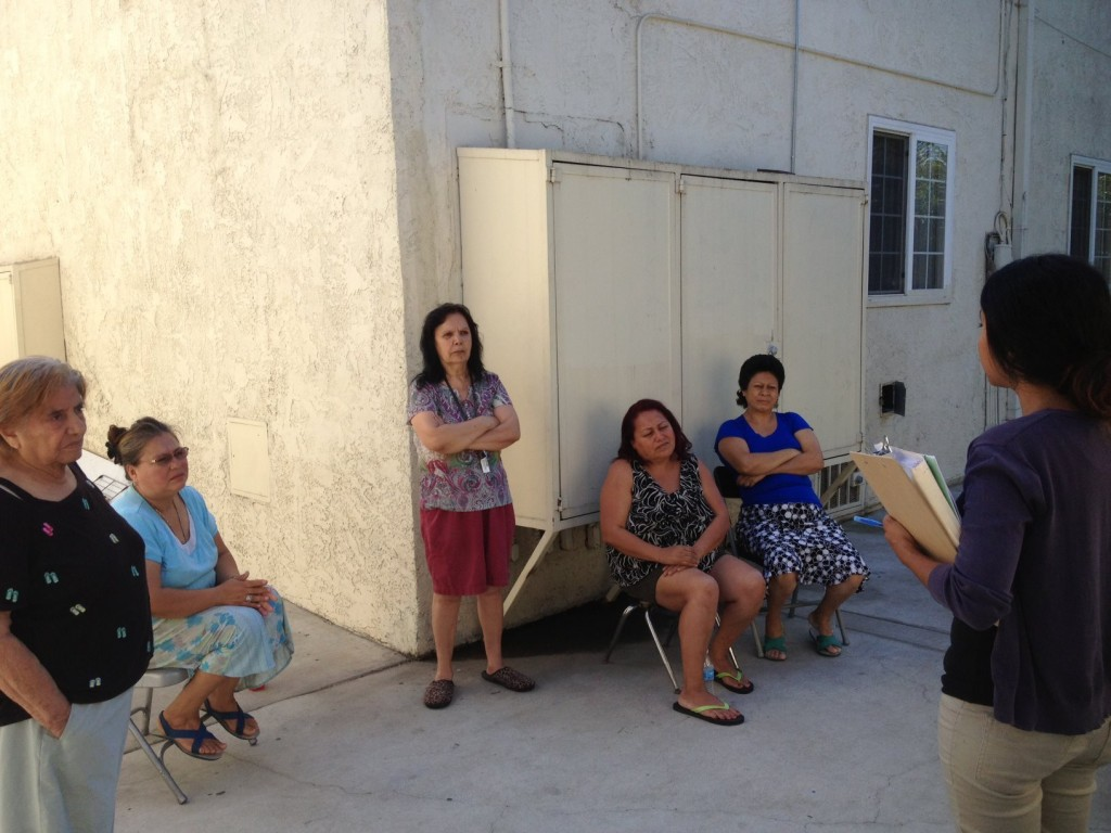 CES HUD tenants meet with CES Tenant Organizer Valerie Lizárraga at an apartment complex near USC to discuss maintenance problems such as cracked-deteriorating bathroom flooring, missing bathroom vents, broken appliances and a cockroach infestation. | CES Facebook