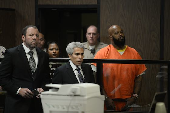 Marion 'Suge' Knight faces the judge at his arraignment in Compton's L.A. Superior Court. | Pool/Paul Beck, EPA
