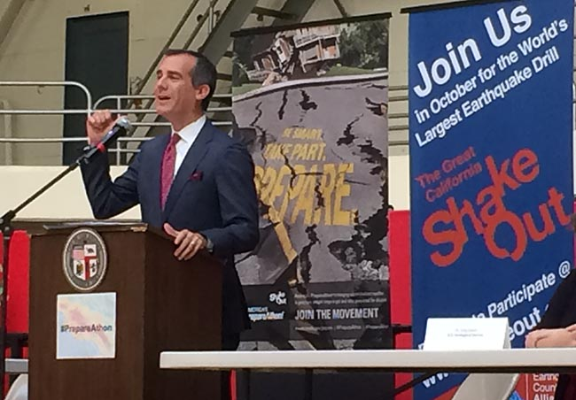 Los Angeles Mayor Eric Garcetti speaks about resiliency and earthquake preparedness Sept. 30.|Marisa Zocco
